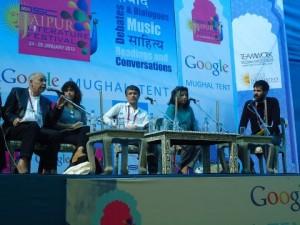 Tahar Ben Jelloun (speaking), Selma Dabbagh, Reza Aslan and Jonathan Shainin